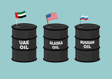 Barrels oil. Black barrel of oil and State flag. Russian oil. Am. Erican USA oil. U.A.E. oil barrel stock illustration