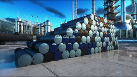 Barrels of oil near petrol plant, refinery. 3d rendering. Barrels of oil near petrol plant, refinery. 3d rendering Royalty Free Stock Photography