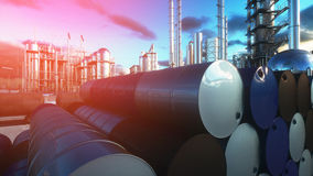 Barrels of oil near petrol plant, refinery. 3d rendering. Barrels of oil near petrol plant, refinery. 3d rendering Stock Image