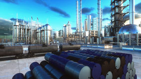Barrels of oil near petrol plant, refinery. 3d rendering. Barrels of oil near petrol plant, refinery. 3d rendering Stock Photography