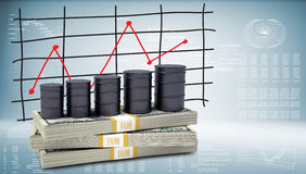 Barrels oil stand on pack of dollars Royalty Free Stock Photo
