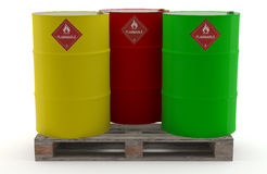 Barrels of Oil. Three barrels, new, painted with attractive colors Stock Images