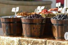Barrels of olives for sale Royalty Free Stock Images