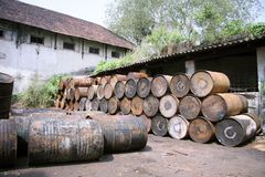 Barrels outside factory Royalty Free Stock Image