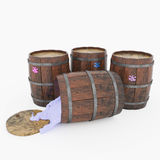 Barrels of paint and blots on them. 3d illustration. Illustration of four wooden barrels with paints. One barrel and fell out of it poured paint Stock Images