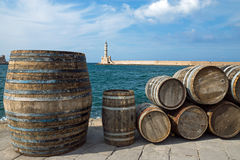 Barrels in the port of Chania Stock Images