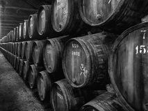 Barrels of Port In Winery Stock Photos