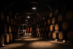 Barrels of Porto vin ein a cellar Royalty Free Stock Photos