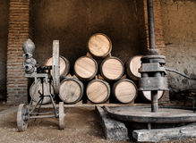Barrels and presses Stock Images