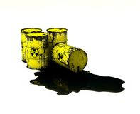 Barrels Radioactive. Barrels contain radioactive waste. Environment concept.3D illustration Stock Photos