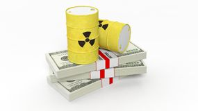 Barrels for radioactive biohazard waste on stacks of dollar banknotes Royalty Free Stock Photography