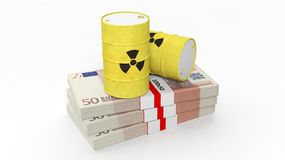 Barrels for radioactive biohazard waste on stacks of euro banknotes Royalty Free Stock Photos