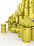 A barrels of radioactive waste. A barrels of radioactive waste on white  background. 3d Stock Image