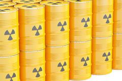 Barrels with radioactive waste, 3D rendering Stock Image