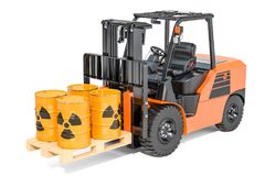 Barrels with radioactive waste on the forklift truck, 3D renderi Stock Image