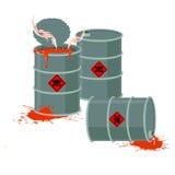 Barrels of Red acid. Hazardous chemical waste Stock Photo