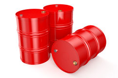 Barrels red. Red oil barrels on a white background Royalty Free Stock Images