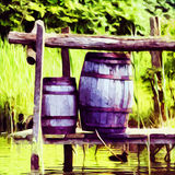 Barrels By The River Royalty Free Stock Photo