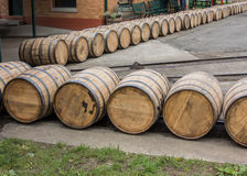 Barrels Roll at Distillery Royalty Free Stock Photography