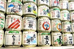 Barrels of sake wrapped in straw in Yoyogi park of Tokyo Royalty Free Stock Images