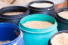 Barrels with sawdust Royalty Free Stock Photography