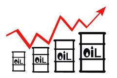 Barrels and schedule of price increases for petroleum products Stock Images