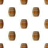 Barrels seamless pattern. Flat style. Rum, whiskey, beer, wine,. Barrels seamless pattern in flat style. Barrel with rum, whiskey, beer, wine, alcohol liquor Royalty Free Stock Photography
