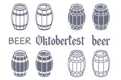 Barrels set. Vector beer oktoberfest wood Royalty Free Stock Image