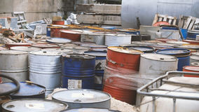 Barrels with spent oil products - ecology concept Stock Photography