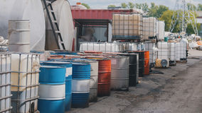 Barrels stand with waste oil and oil products Stock Photography