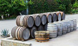 Barrels standing in a row Stock Photo