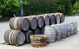 Barrels standing in a row Royalty Free Stock Photo