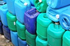 Barrels storage. Used blue washing fluid barrels Stock Photography