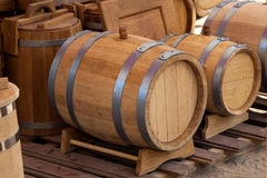 Barrels for storage Stock Photos