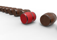 Barrels target in line concept. 3D rendered illustration of multiple barrels arranged in a row. One barrel is colored in red and positioned forward indicating Royalty Free Stock Images