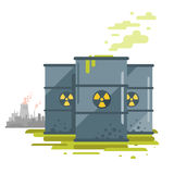 Barrels of Toxic Waste. Three barrels of toxic radioactive waste, radiation pollution from nuclear power plant, ecological disaster, dirty toxic effluents stock illustration