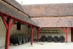 Barrels under a roof, France Royalty Free Stock Photos
