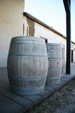 Barrels Vertical. Three wooden barrels in an Old Timey setting Royalty Free Stock Photography
