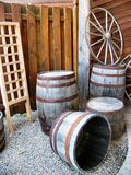 Barrels and Wagon Wheel Royalty Free Stock Images