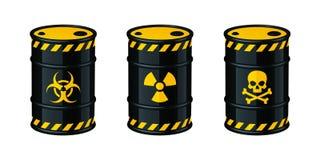 Barrels of waste vector illustration. Biohazard waste, Radioactive waste, Toxic waste. Barrels of waste vector illustration isolated on white background stock illustration