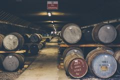 Barrels of whisky inside Brora Distillery warehouse in Scotland, rare Brora whisky in the front. The distillery is currently being refurbished to reopen in stock images