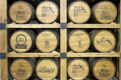 Barrels of Wild Turkey Bourbon in distillery Stock Photography