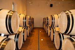 Barrels of wine in the barrel cellar in a modern winery. A barrels of wine in the barrel cellar in a modern winery stock image