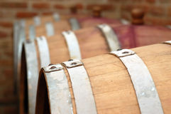Barrels in wine cellar. Wooden barrels in wine cellar Stock Image