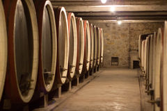Barrels in a wine cellar Royalty Free Stock Photography
