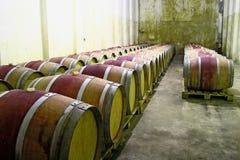 Barrels in wine cellar Stock Photo