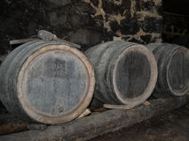 Barrels in a wine-cellar Royalty Free Stock Images
