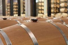 Barrels of wine in cellar Royalty Free Stock Image