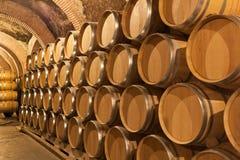 Barrels of wine in cellar Stock Image