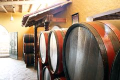 Barrels in a wine cellar Royalty Free Stock Photos